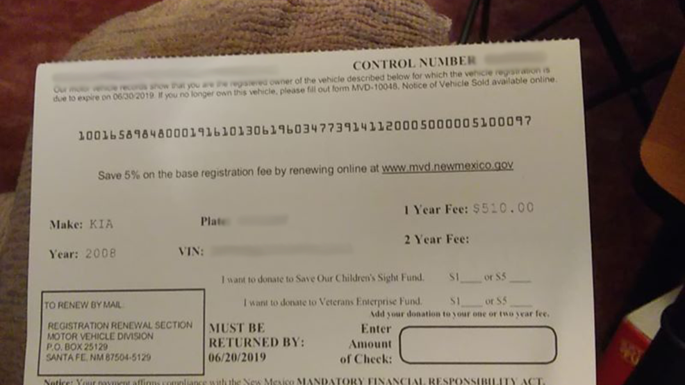 New Mexico drivers receive registration renewal cards asking