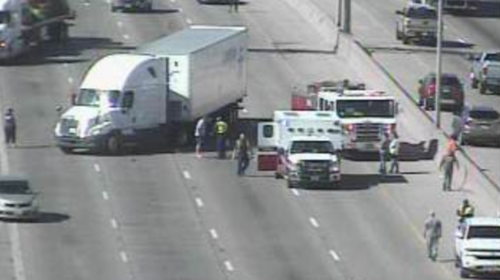 Motorcycle versus semi-truck accident on I-10 east and